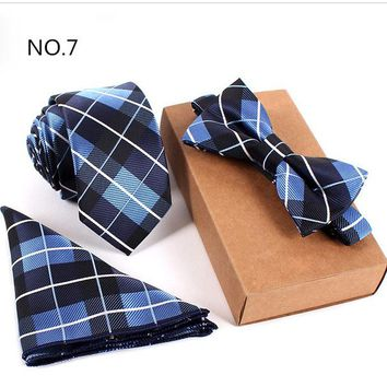 3 Piece Slim Men Tie, Bow Tie and Handkerchief Set - Blue Square Pattern