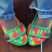Crochet slippers, booties, shoes, socks with a button strap, colorful variegated tie dye spring collection in neon dayglow