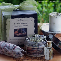 SACRED SMUDGE Focused Ritual Kit w/ Candle, Smudging Herbs, Sage Bundle, Ritual Oil for Clearing & Cleansing Your Sacred Space or Home
