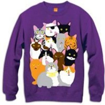 Enjoi Cat Collage Crew Sweatshirt - Men's