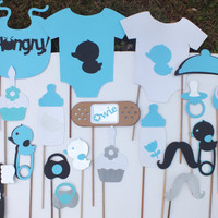 Photo booth props:  black and teal unisex set
