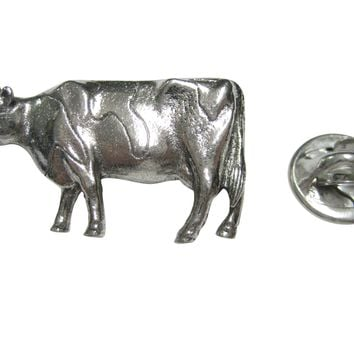 Silver Toned Smooth Cow Lapel Pin