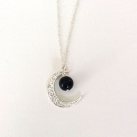 Crystal Moon Necklace, Alloy Moon with a Lapis Lazuli Bead, Silver Tone Chain