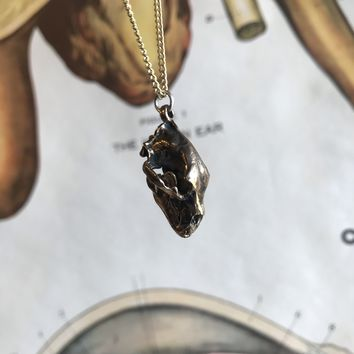 Black Bear Skull Pendant - Gold Bronze