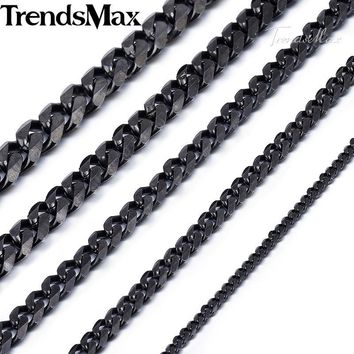 Black Color Necklace Men Stainless Steel Long Necklaces Cuban Chains