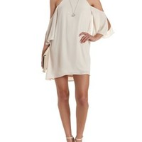 Creme Racer Front Cold Shoulder Shift Dress