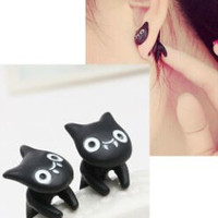 Blue Kiss E23 The 2015 New Vintage Black Stereoscopic Cute Cats Earrings For Women