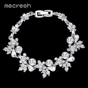 Mecresh Crystal Bridal Bracelets for Women Silver/Gold-Color Rhinestones African Wedding Pulseiras Christmas Party Jewelry SL079