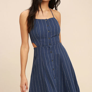 ASTR the Label Paulina Denim Blue Striped Halter Dress