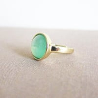 Mint Green Ring Pale Light Green Faux Gemstone Ring Modern Simple Classic Classy Minimal Pastel Green Apple Green