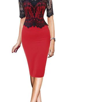 LASPERAL Sexy Lace Dresses Women Half Sleeve Stand Collar Summer Pencil Dress Peplum Elegant Bodycon Party Dress New