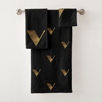 Monogram V Black and Gold Look Elegant Typography Bath Towel Set