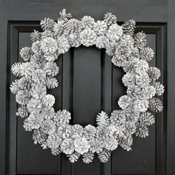 Wintry White Pinecons Christmas Wreath w/ COMPLIMENTARY Wreath Storage Tote, Winter Wreath, Front Door Wreath, Holiday Wreath for the Door