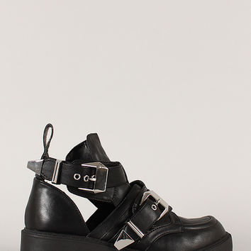 Qupid Valiant-01 Buckle Cut Out Bootie