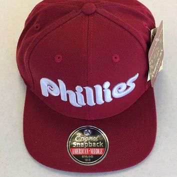 DCCKIHN AMERICAN NEEDLE PHILADELPHIA PHILLIES RETRO MAROON SNAPBACK HAT