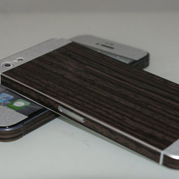 iPhone 5 Stainless Steel & Wood Effect Duo Tones Decal Wrap Skins