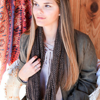 Checked Out Scarf, Brown