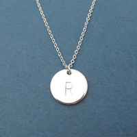 Personalized, Letter, Initial, Simple, Monogram, Disc, Silver, Necklace, Birthday, Lovers, Best friends, Gift, Jewelry