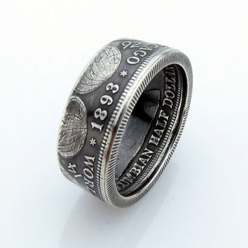 SILVER Columbian Exposition Coin Ring, Half Dollar, Unique Engagement Ring, Wedding Ring, Coin Jewelry, Mens, Band, Mans, Rings