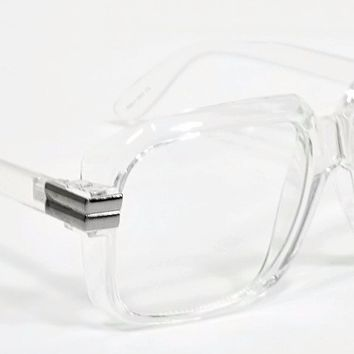 Classic Vintage Style Clear Lens Glasses Transparent Frame Silver Accent