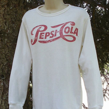 ON SALE 80s Pepsi Cola Long Sleeve Cotton Shirt Unisex