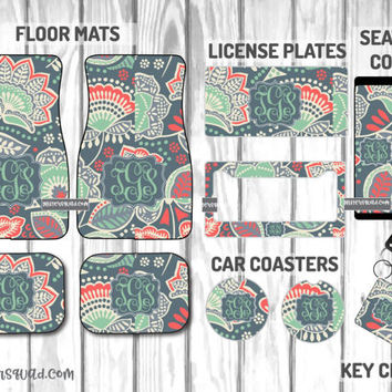 Grey Coral  and Mint Floral  Car Mat /Plate & Frame / Seat belt cover / Key Chain / Car Coaster / Car Accessory Gift  Set