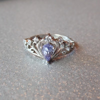 Genuine Tanzanite Sterling Silver Princess Crown Ring