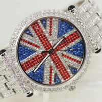 forever2you — Full Pave UK Flag Rhinestone Watch