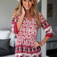Floral Dress Spring - Red Floral Romper Elephant Print