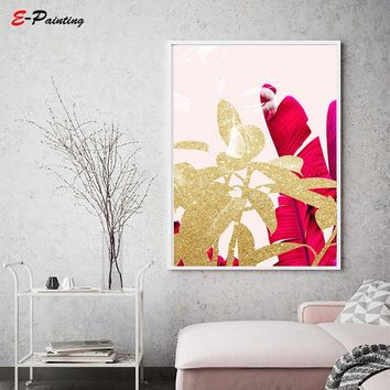 Fuchsia Banana Print Gold Plant Leaves Tropical Leaf Wall Art Blush Pink Botanical Bedroom Home Decor Canvas Painting