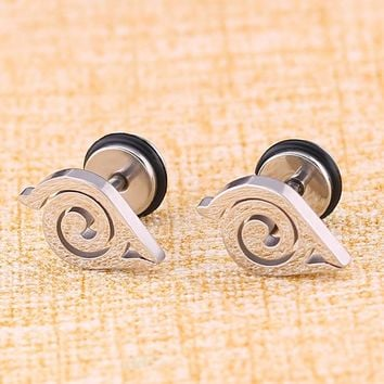 High Grade Gold Silver Black Color Naruto Anime Stud Earring For Women Men Stainless steel Ear Jewelry Gifts