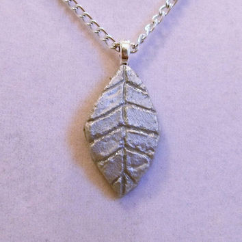 Silver Leaf Necklace, clay, pendant, fall, designed etched, thin, autumn, one of a kind, ooak, unique, sleek, very, nice, aluminum chain
