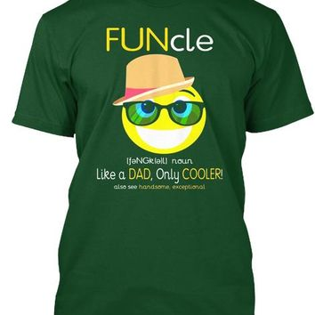 Mens Funcle T Shirt Like A Dad Only Cooler Emoji Stuff T Shirt