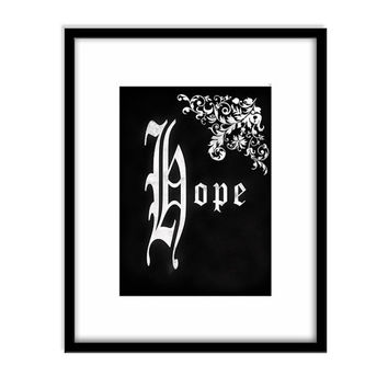 Printable Art, Chalk Board Typography, Hope, Inspirational Quote