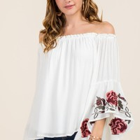 Aleen Floral Embroidered Ruffle Off The Shoulder Top