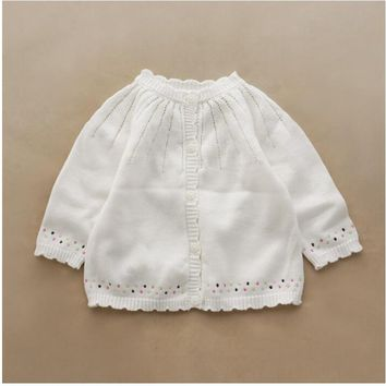 1846345 Autumn Toddler Baby Sweater For Girls Cardigan White Girls Sweater Baby Cardigan Children Clothes christmas