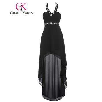 Grace Karin Real Picture Cocktail Dress Halter Beaded Black Blue Burgundy Robe De Cocktail Short Front Long Back Prom Gowns 2017