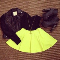 lulus - Glows to Show Neon Yellow Skirt