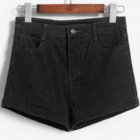 Solid Color High-Waist Shorts