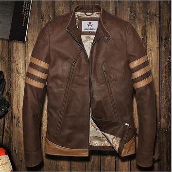 2016 Vintage brown flight bomber jacket sheepskin cowskin fur coat collar pilot leather jacket mens male boys motorcycle blazer
