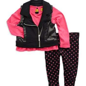 Nicole Miller Girls 2-6x Three-Piece Vest Set