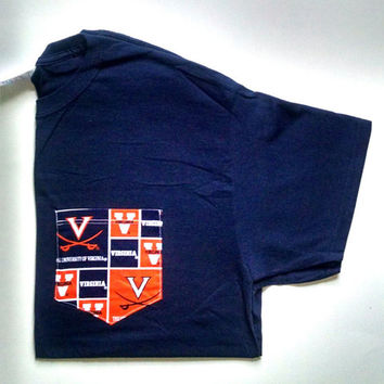 SALE! Large Navy UVA-University of Virginia- Pocket T-shirt-Frocket- Adult Unisex