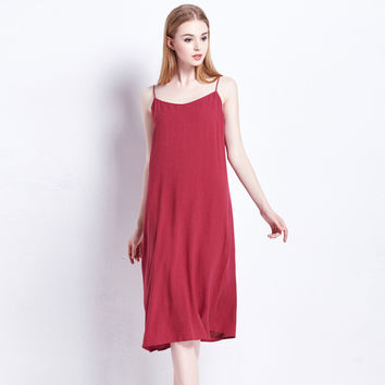 Ladies Cotton Linen Summer Stylish Spaghetti Strap Dress [4914977348]