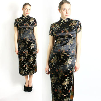 Vintage 80's 90's Black Shiny Maxi Long Brocade Asian Chinese Dress Mandarin Collar - Small to Medium