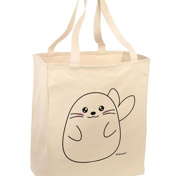 Cute Seal Large Grocery Tote Bag by TooLoud