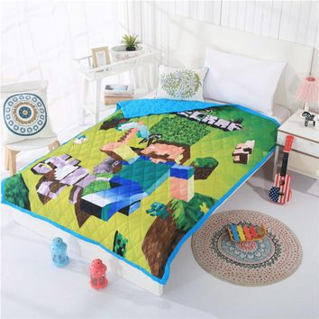 150X200cm Summer Quilt Quilted Air Condition Blanket Jacquard Comforter Bed Cover Minecraft Kids Cartoon Bedding