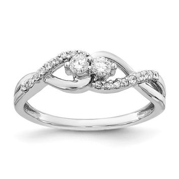 14k White Gold 2 Stone Diamond Infinity Inspired Ring