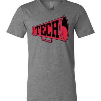 Official NCAA Texas Tech University Red Raiders TTU Masked Raider WRECK EM! Megaphone Unisex V-Neck T-Shirt - TEXT1061