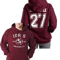 Herondale 27 Idris University Unisex Hoodie S to 3XL Maroon