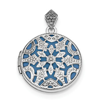 Sterling Silver Rhodium-plated 20mm Round w/Diamond Vintage Locket QLS611